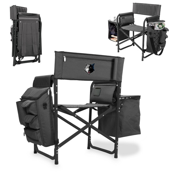 Picnic Time Grey/Black Minnesota Timberwolves Fusion Chair