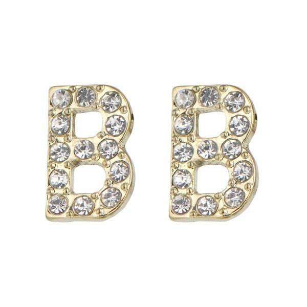 Gold B Rhinestone Initial Stud Earrings