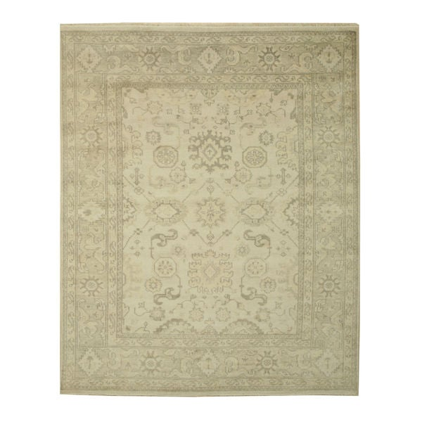 EORC Ivory/Light Grey Wool Hand-knotted Monochrome Oushak Rug (9' x 12')