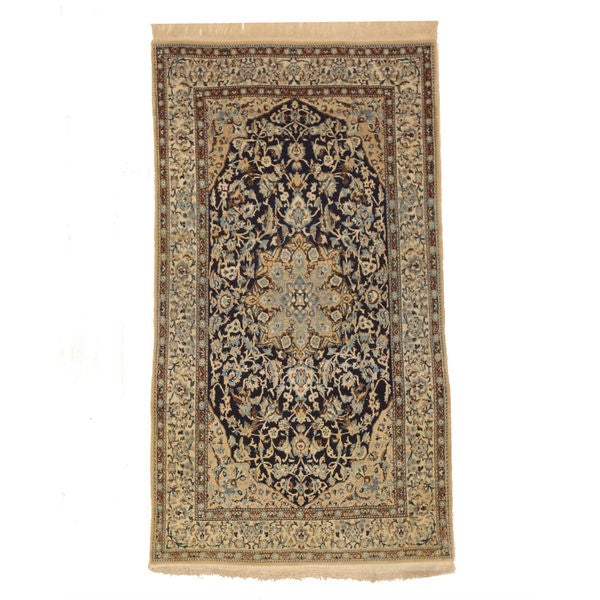 Hand-knotted Wool Navy Traditional Oriental Naiin Rug (3'8 x 6'8) 19071687