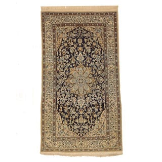 EORC Navy Wool Hand-knotted Naiin Rug (3'8 x 6'8)