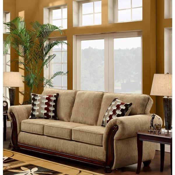 Sofa Trendz Cream/Brown Microfiber/Wood Tri-tone Sofa