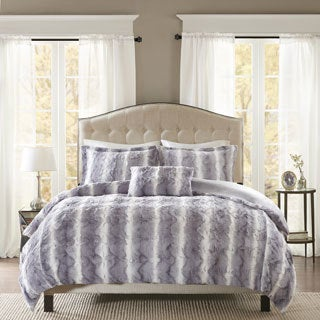Madison Park Marselle Faux Fur 4-piece Duvet Cover Set