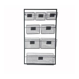 Cheungs Black Metal 19.5-inch x 4-inch x 33.75-inch 8 Slots Decorative Wall Organizer