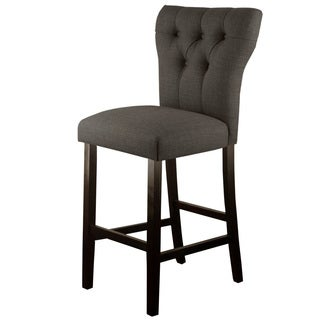 Skyline Furniture Grey Polyester and Rubberwood Tufted Hourglass Bar Stool