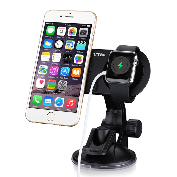 Dual Car Holder Windshield Dashboard Universal Cellphone Car Mount Cradle for iPhone and Apple Watch 19076556