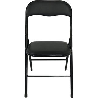 Wee's Beyond Black Metal PVC Cushion Folding Chair