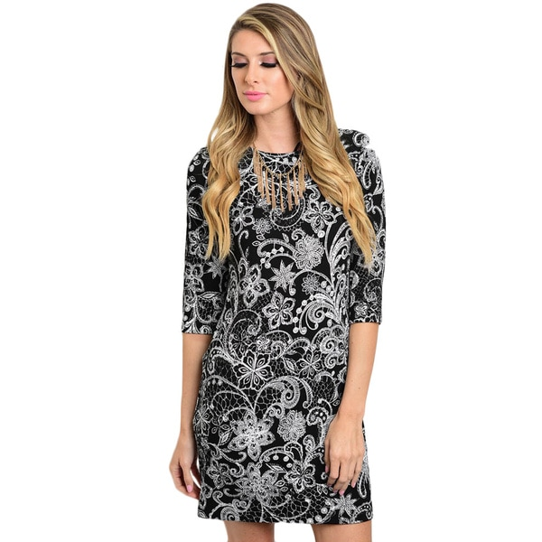 Shop The Trends Women's 3/4 Sleeve Floral Print And Round Neckline Shift Missy Dress