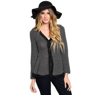 Shop The Trends Women's Long Sleeve Button-down Peplum Cardigan