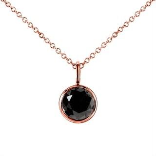 Annello 14k Rose Gold 1ct Round Black Diamond Solitaire Bezel Pendant and Detachable Chain