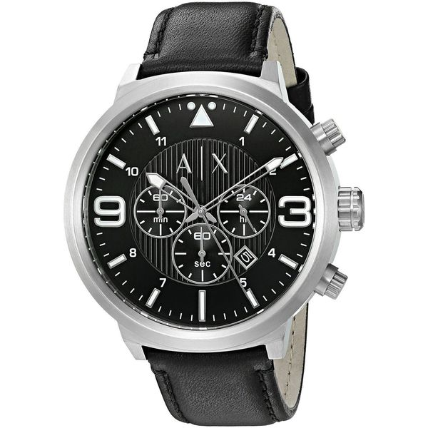 Armani Exchange Men's AX1371 'ATLC' Chronograph Black Leather Watch