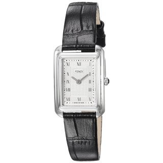 Fendi Women's F700026011 'Classico Rectangle' Silver Dial Black Leather Strap X-Small Swiss Quartz Watch