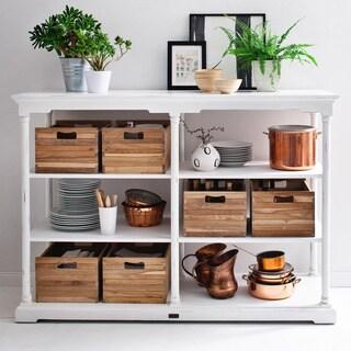 Nova Solo White Mahogany Kitchen Table with 6 Teak Boxes