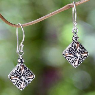 Handcrafted Gold Overlay 'Jasmine Petals' Earrings (Indonesia)