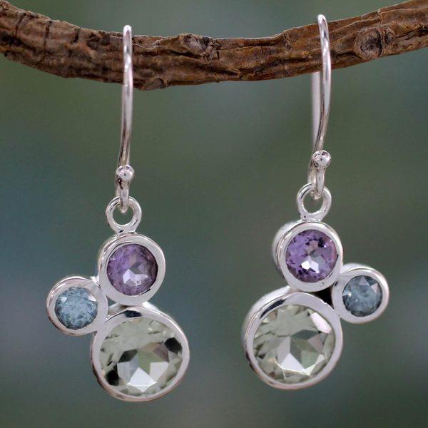 Sterling Silver 'Glamorous Trio' Multi-gemstone Earrings (India)