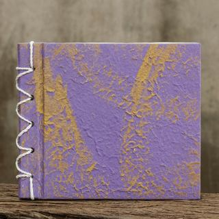 Handcrafted Saa Paper 'Golden Lilac' Notebook (Thailand)