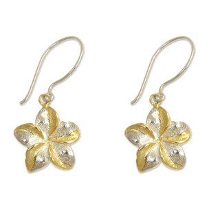 Sterling Silver Gold Overlay 'Golden Frangipani' Earrings (Indonesia)