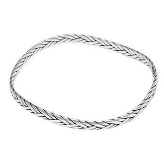 Handcrafted Sterling Silver 'Braided Square' Bracelet (Indonesia)