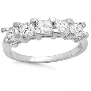 14k Gold 1 1/2ct TDW Princess-cut Diamond 5-stone Bridal Wedding Anniversary Band (H-I, I1-I2)