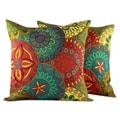 Set of 2 Handcrafted Polyester 'Glorious' Cushion Covers (India)