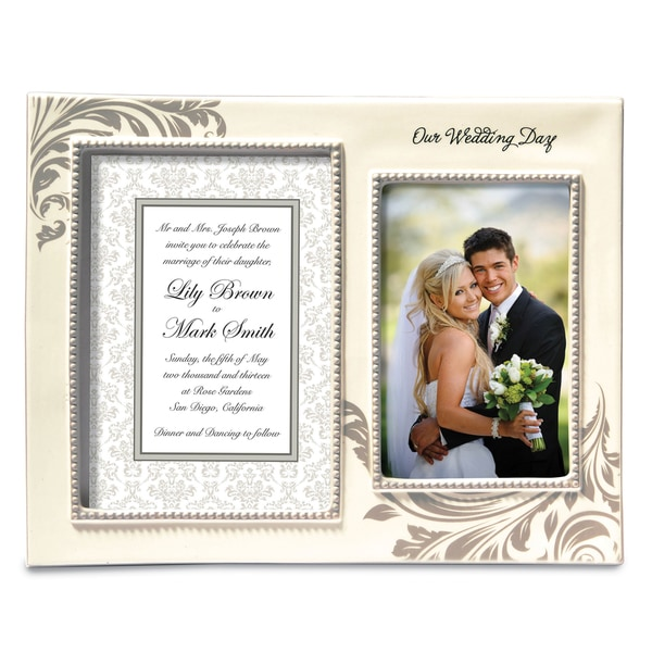 Versil 'Our Wedding Day' White Ceramic Double Frame 19091209