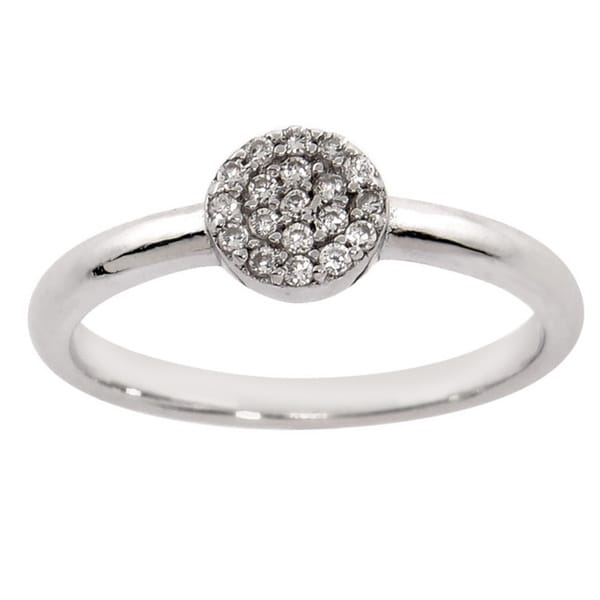 Eternally Haute Sterling Silver Zirconia Pave Disc Ring