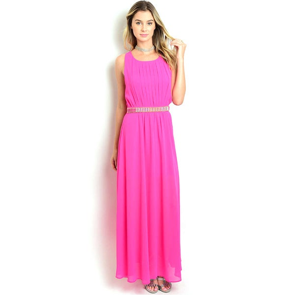Shop The Trends Women's Orange, Pink Polyester Sleeveless With Embellished Waist Maxi Dress