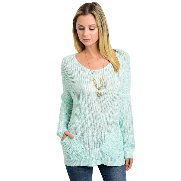 Shop The Trends Women's Knit Long Sleeve Pocket-detail Relaxed-fit Sweater