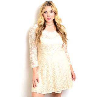 Shop The Trends Women's Plus Size Lace Long Sleeve Dress