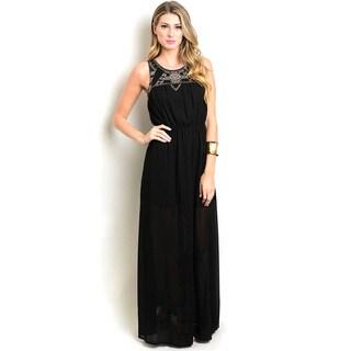 Shop The Trends Women's Black Polyester Sleeveless Empire Maxi Dress