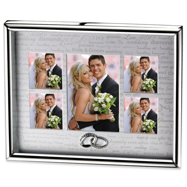 Versil Silver-plated Metal Wedding Gallery 3.5-inch x 5-inch and 2.5-inch x 3-inch Photo Frame