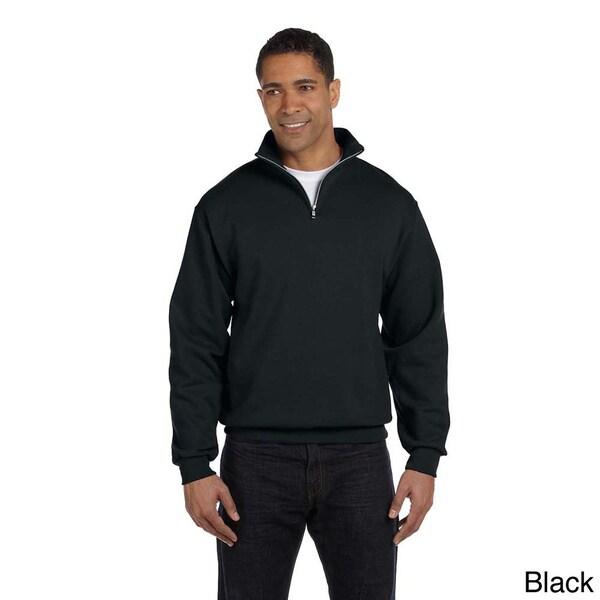 Men's 50/50 NuBlend Quarter-zip Cadet Collar Sweatshirt Size Large in Oxford (As Is Item)