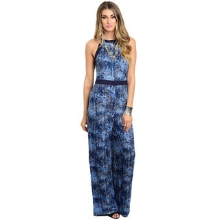 Shop the Trends Women's Sleeveless Wide Legged Abstract Print Jumpsuit