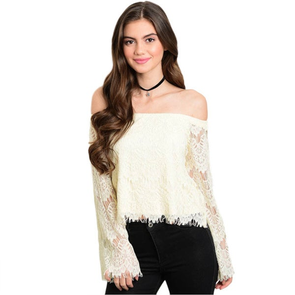 Shop The Trends Women's Lace Bell Sleeve Off-the-shoulder Top