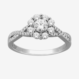 De Couer 14k White Gold 1ct TDW Twist Shank Halo Engagement Ring (H-I, I2)