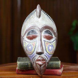 Handcrafted Beaded Sese Wood 'Nku' Mask (Ghana)