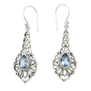 Handcrafted Sterling Silver 'Rapture' Blue Topaz Earrings (Indonesia)