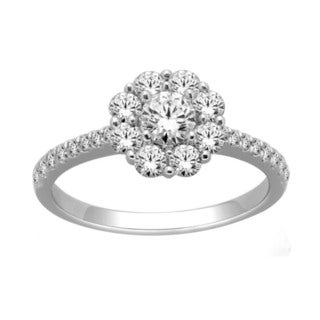 De Couer 14k White Gold 1ct TDW Halo Engagement Ring (H-I, I2)