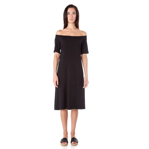 AtoZ Black Modal Off-the-shoulder Dress