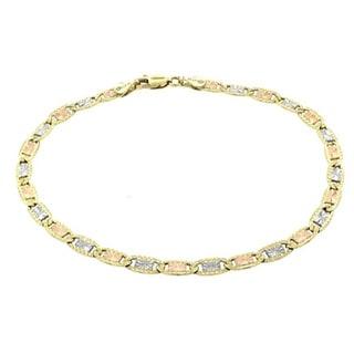 14k Tri-color Gold Valentino Bracelet