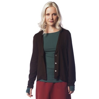 AtoZ Women's Brown Cotton Relaxed Cardigan