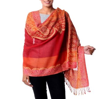 Handcrafted Wool 'Crimson Riches' Jamawar Shawl (India)