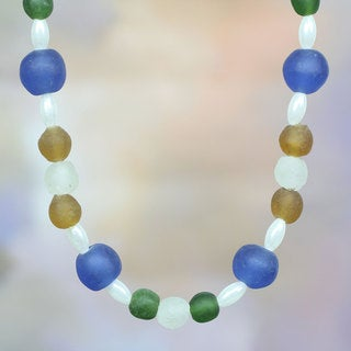 Handcrafted Recycled Glass 'Timeless' Necklace (Ghana)
