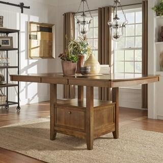 TRIBECCA HOME Octavia Warm Oak Counter Height Storage Base Extending Table
