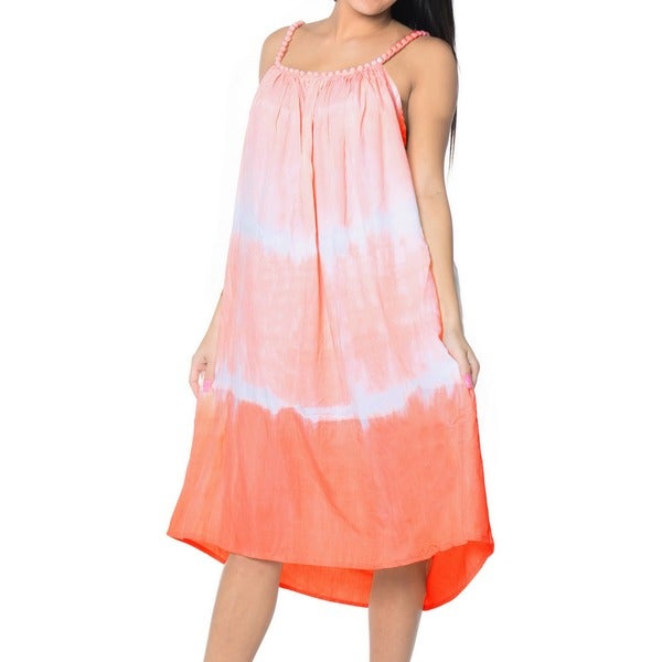 La Leela Tie Dye Rayon Beach Swimwear Summer Casual Evening Dress Cover up Peach