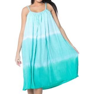 La Leela Swimwear Smooth Lightweight Rayon Beach Bikini Evening Casual Spaghetti Strap Short Dress Sleeveless Green Cover Up