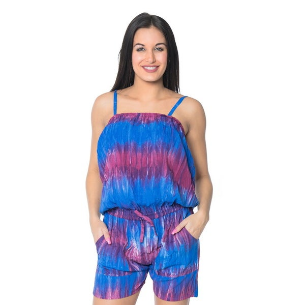 La Leela Tie Dye Rayon Women Beach Playsuit Jumpsuit Stretchy Romper Purple S/M