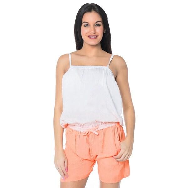 La Leela Beach Rayon Women Plus Jumpsuit Tie Dye Stretchable Playsuit Pink S/M