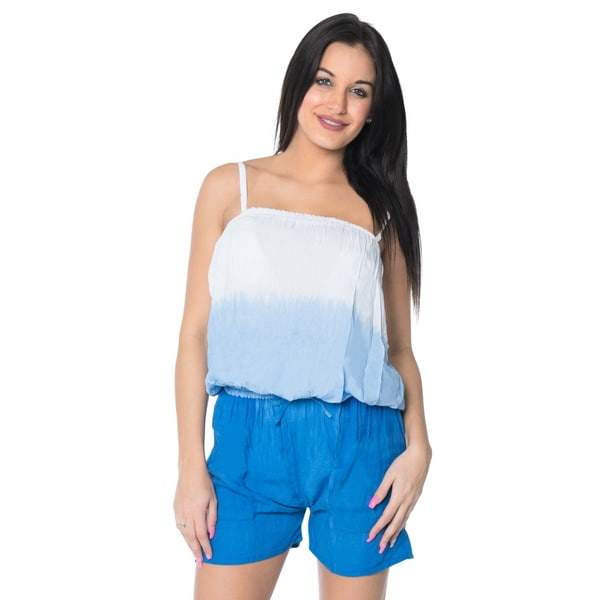 La Leela Plus Pocket Shorts and Jumpsuits Blue Tie-dye Stretchable Romper Lightweight Swimsuit Bikini Rayon Cover Up Playsuit