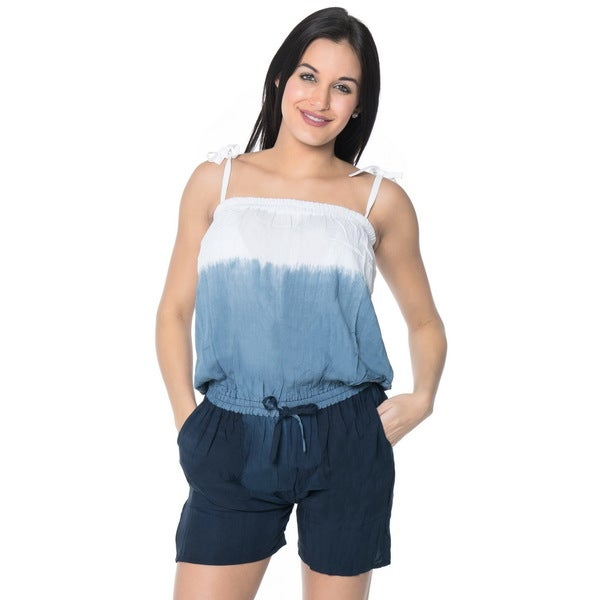 La Leela Plus Jumpsuit Tie Dye Stretchable Romper Rayon Women Playsuit Grey L/XL
